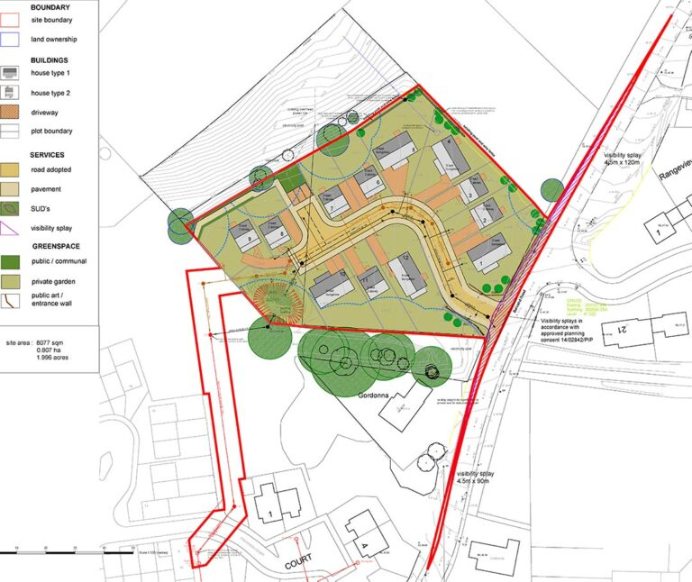 A3 Partnership Ltd. Masterplan for Development of 12 Houses, Muir of Ord